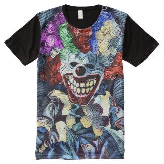 Arte oscuro del horror del asesino del payaso camiseta con estampado integral