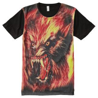 Arte oscuro del horror del hombre lobo del demonio camisetas con estampado integral
