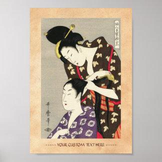 Arte para mujer del ukiyo-e de Utamaro Yuyudo de l Póster