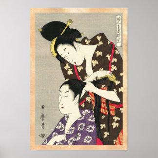 Arte para mujer del ukiyo-e de Utamaro Yuyudo de l Impresiones