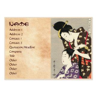 Arte para mujer del ukiyo-e de Utamaro Yuyudo de l Tarjetas De Visita Grandes