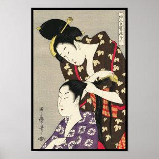 Arte para mujer del ukiyo-e de Utamaro Yuyudo de Póster