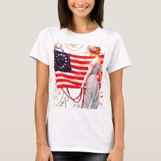Arte patriótico de la postal del vintage de la camiseta