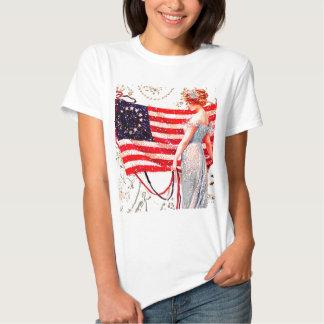 Arte patriótico de la postal del vintage de la camisetas