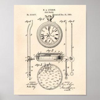 Arte Peper viejo de la patente del cronómetro 1889