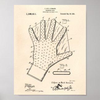 Arte Peper viejo de la patente del guante 1916 de