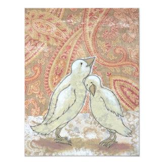 Arte perfecto caprichoso en blanco del pájaro de invitación 10,8 x 13,9 cm