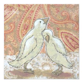 Arte perfecto de los pájaros de los pares de la invitación 13,3 cm x 13,3cm