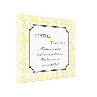 Arte personalizado boda amarillo de la lona del da impresión en lona