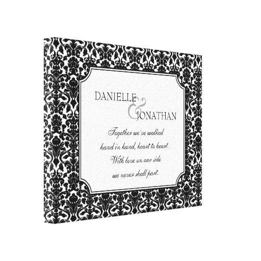 Arte personalizado boda blanco negro de la lona de lona envuelta para galerías