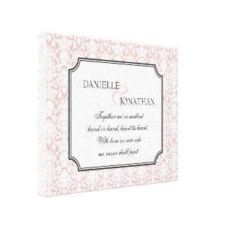 Arte personalizado boda blanco rosado de la lona d impresiones de lienzo