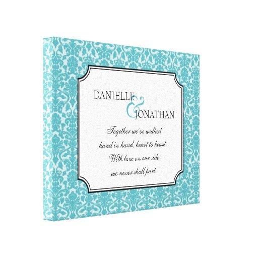 Arte personalizado cita azul de la lona del boda d impresion en lona