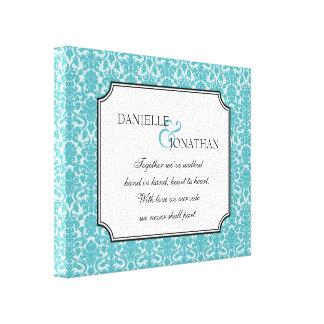 Arte personalizado cita azul de la lona del boda d lona envuelta para galerías