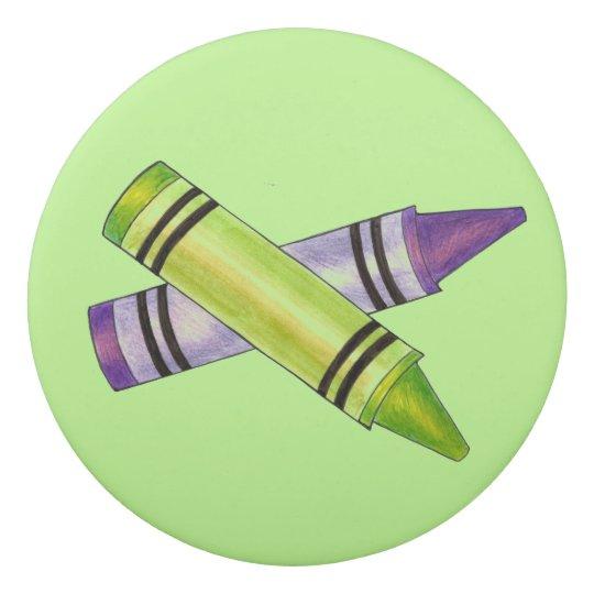 Arte personalizado creyón púrpura verde de la goma de borrar
