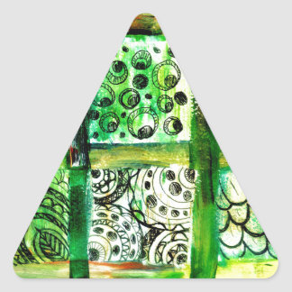 Arte pintado 2 de los cuadrados pegatina triangular