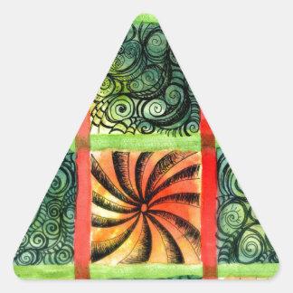 Arte pintado 3 de los cuadrados pegatina triangular