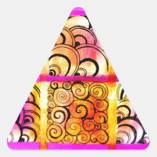 Arte pintado de los cuadrados pegatina triangular