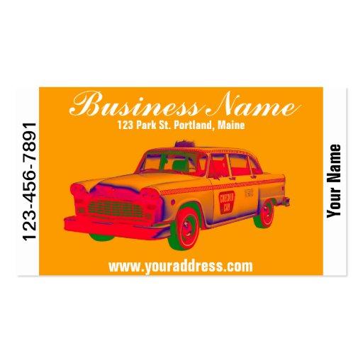 Arte pop a cuadros colorido del taxi plantillas de tarjeta de negocio