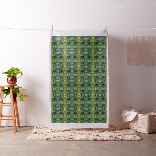 Arte pop abstracto del follaje en verde y azul tela