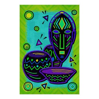 Arte pop africano del artefacto póster
