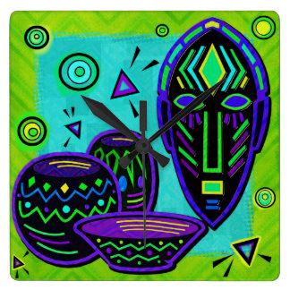 Arte pop africano del artefacto reloj cuadrado
