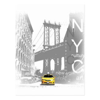 Arte pop amarillo del taxi de New York City Nyc Postal