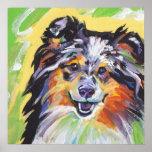 Arte pop brillante del merle del perro pastor de S Póster