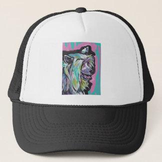 Arte pop con cresta chino del perro del soplo de gorra de camionero