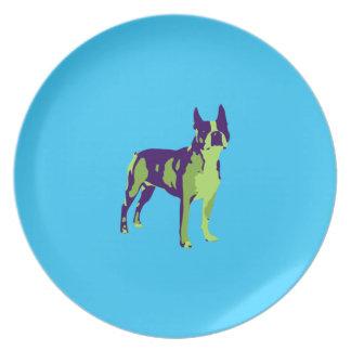 Arte pop de Boston Terrier Plato De Cena