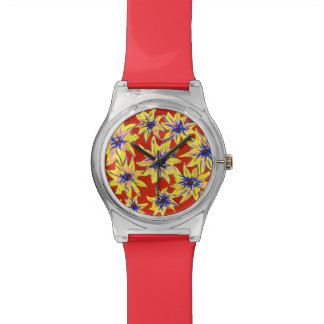 Arte pop Watercolour reloj floral brillante del 28
