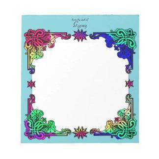 Arte popular colorido bohemio floral gitano de bloc de notas