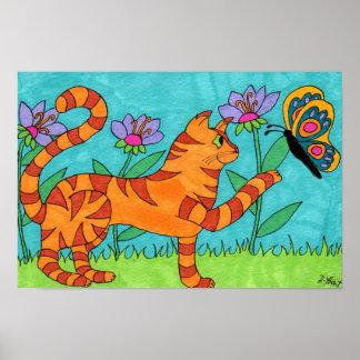 Arte popular del gato y de la mariposa de Tabby
