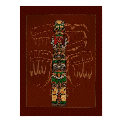 Arte popular del nativo americano del tótem impresiones