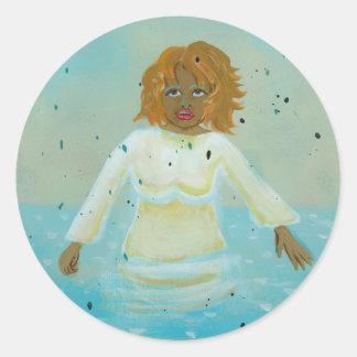 Arte popular espiritual que pinta a la mujer negra etiqueta redonda