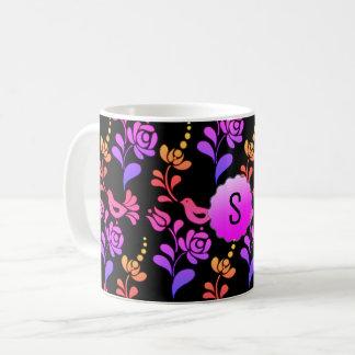 Arte popular europeo tradicional y de la cadera taza de café