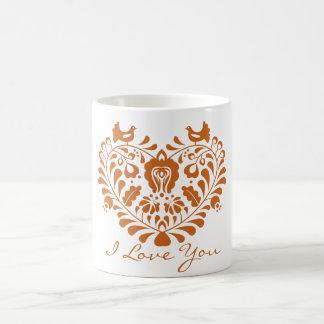 Arte popular húngaro en forma de corazón floral taza de café