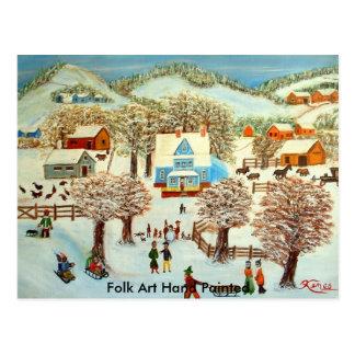 Arte popular pintado a mano postal