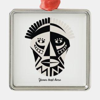 Arte popular primitivo de la máscara africana adorno cuadrado plateado
