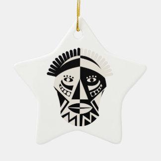 Arte popular primitivo de la máscara africana adorno de cerámica en forma de estrella