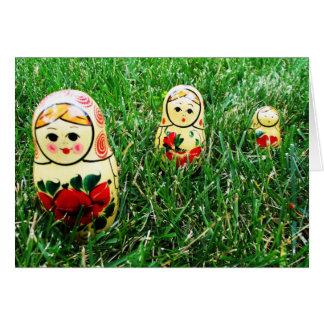 Arte popular ucraniano de las muñecas de la tarjeta de felicitación