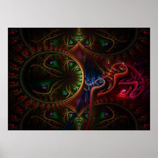 Arte psico del fractal de la llama de los engranaj poster