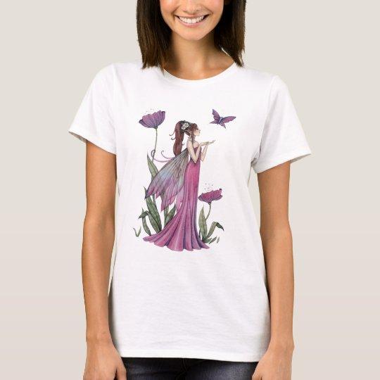 Arte púrpura de la fantasía de la hada y de la camiseta