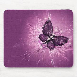 arte púrpura del vector de la mariposa tapetes de raton