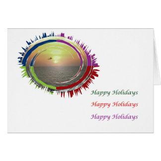 Arte que hace estallar del ojo - puesta del sol tarjeta de felicitación