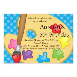 Arte que pinta invitaciones azules del cumpleaños invitación 12,7 x 17,8 cm