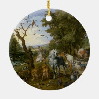 Arte religioso de la arca de Noahs Adorno Navideño Redondo De Cerámica