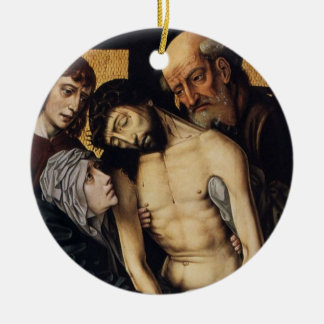 Arte religioso que ofrece el ornamento de cerámica adorno navideño redondo de cerámica