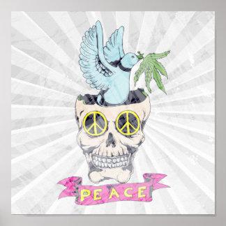 arte retro del vector del cráneo de la paz del hip póster