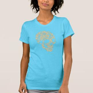 arte retro marrón del vector de la cabeza del crán camisetas
