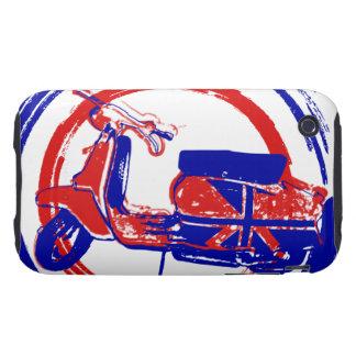 Arte retro rojo y azul de la vespa tough iPhone 3 coberturas